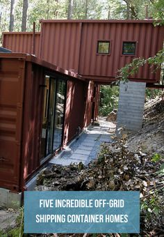 Unique examples of shipping container homes that were built off-the-grid and are self-sustaining to various degrees Cargo Container Homes, Shipping Container House Plans, Building A Container Home, Container Buildings, Container House Design, Off The Grid Homes, Off Grid House, Cat House Diy, Prefab Homes