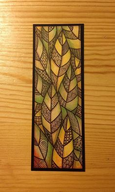 Zentangled Leaves Bookmark: