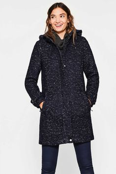 Esprit - Bouclé coat + detachable hood