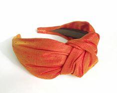 Headbands for women flame orange Pure silk top knot adult headband woman head bands hairbands silk hair scarf silk hair band turban
