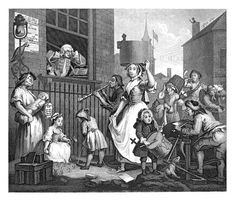 The Enraged Musician is a 1741 etching and engraving by English artist WILLIAM HOGARTH. While the other inhabitants of the street produce discordant notes, the music of the violinist would be no better, because he has restricted himself by his studies and by removing himself from nature. He covers his ears to block out the cacophony of the street noise, but at the same time he denies himself the sweet music of the milkmaid's voice.