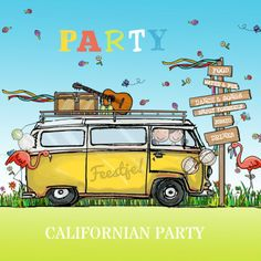 Super kleurrijke en vrolijke uitnodigingskaart met VW bus, bordjes, flamingo, bloemen, gitaar en slingers, verkrijgbaar bij #kaartje2go voor €1,89