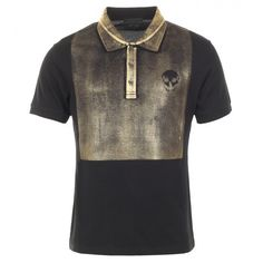 Alexander McQueen Black & Gold-tone Cotton Skull Print Polo Shirt