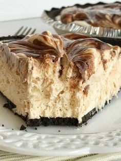 {no bake} Peanut Butter & Fudge Swirl Pie - Together as Family