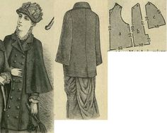 Tygodnik Mód 1880.: Traveling cape with pelerine sleeves.