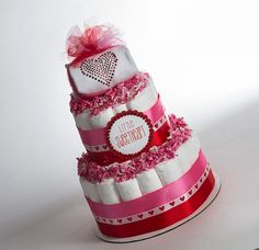 "The ""Little Sweetheart"" Diaper Cake. Baby's First Valentines. Valentines Baby Shower Gift or Centerpiece. on Etsy, $55.00"