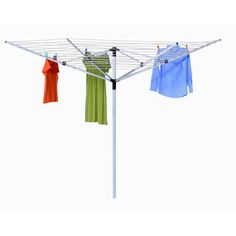 This in-ground umbrella dryer is made from rust-resistant aluminum and is highly durable. Able to hold heavy loads and can handle the natural elements that Mother Nature throws out. This excellent eco-friendly product is able to hold many items with its 165 feet of drying space. In ground installation required.