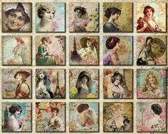 Victorian Ladies Digital Collage Sheet 1 x 1 by LuluDesignArt