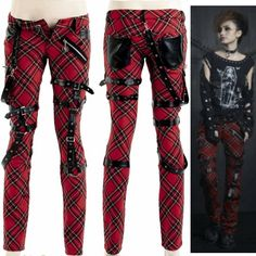 Red Plaid Wool Slim Fit Low Waist Cyber Goth Punk Fashion Pants Women SKU-11404071