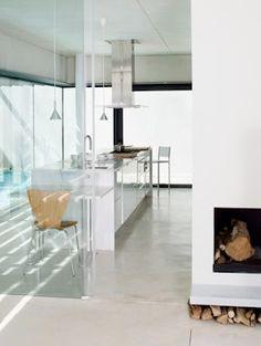 pared de cristal en la cocina