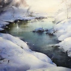 Winter Morning Silence by Ilya Ibryaev Watercolor Landscape, Landscape Paintings, Watercolor Paintings, Watercolour, Watercolor Painting Techniques, Artist Painting, Pencil Shading Techniques, Beautiful Winter Scenes, Winter Painting