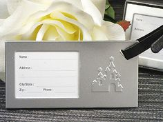 Enchanted Castle Luggage Tag - Enchanted Castle Luggage Tags make fun and practical favors. These luggage tags are silver and feature a castle design. Luggage tags are hung by a black leather strap. Wedding Favors Unlimited, Destination Wedding Favors, Unique Wedding Favors, Wedding Ideas, Enchanted Castle, Fairytale Castle, Party Gifts, Party Favors, Shower Favors