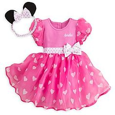 Baby will have the cutest costume in the Clubhouse when wearing Minnie's signature pink ensemble. Our bodysuit features a flouncy skirt with heart pattern and bow headband with ears for an outfit that is ready to party!