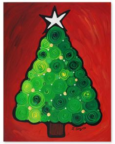 abtract tree, Artist, Christmas, christmas card, christmas tree, crimson, gift, gold, green, green tree, holiday gift, holiday tree, labor o...