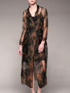 #AdoreWe #StyleWe Midi Dresses - Pokwai Coffee Casual Printed/Dyed H-line Silk Midi Dress - AdoreWe.com