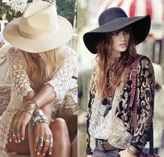 Modelos vestem estilo gypsy e adotam chapéu floppy