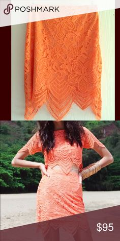 For Love and Lemons Luna skirt S For Love and Lemons Luna skirt tropical orange size small. Great condition! Never been worn by me. Would like to sell but will trade this one for a size Medium Luna top in multiple colors. If interested I can also list on M for lesser For Love and Lemons Skirts Mini