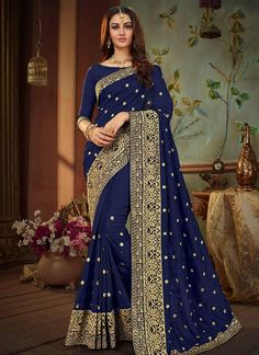 Blue Readymade Banglori Art Silk Wedding Zari Embroidered Blouse Indianattire Stitched Boat Neck Crop Party Wear Sari Top Floral For Women