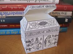 """This is my very favorite paper box find so far!  A PDF to print on card stock--your choice of card stock color, then paint or use other media to color the """"Seven Virtues"""" if you wish, and assemble.  A generous and lovely gift from Tricia Wilson Nguyen of Thistle Threads."""