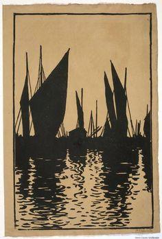 Sunset, Honfleur  1896 Henri Guérard woodcut                                                                                                                                                                                 More