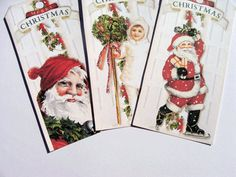 Red Holiday Tags - Set of 6 - Vintage Christmas - Cottage Chic - Victorian Christmas - Merry Christmas - Santa Tags - Vintage Lady Tags