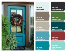 Front door colors with tan house paint entryway 50 Best Ideas Teal Front Doors, Front Door Paint Colors, Painted Front Doors, Tan House, House Front Door, Front Porch, Farmhouse Paint Colors, Exterior Paint Colors For House, Palette