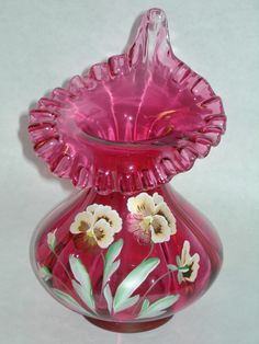 Vintage Fenton Cranberry Ruffled Hand Painted Signed Art Vase Pansy Jack in the Pulpit Vase.