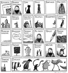 "Edward Gorey A to Z. annarchy: "" A-Z by Edward Gorey "" Edward Gorey, Illustrations, Illustration Art, Handwritten Text, Alphabet Art, In This World, My Idol, Toms, Lettering"