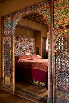 Colorful Moroccan Inspired Bedroom In Santa Fe, NM