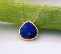 Lapis necklace - Bezel Gemstone necklace - Gold necklace - Something Blue - September Birthstone - Layered Necklace - Stone Pendant by delezhen on Etsy https://www.etsy.com/listing/70612281/lapis-necklace-bezel-gemstone-necklace