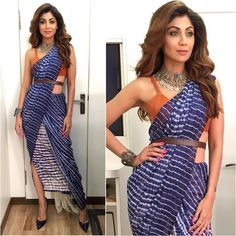 """5,812 Likes, 34 Comments - A Fashionista's Diary (@afashionistasdiaries) on Instagram: """"@theshilpashetty  Sari - @ahujaragini  Jewelry - @silverhouse.co.in  Shoes - @louboutinworld…"""""""