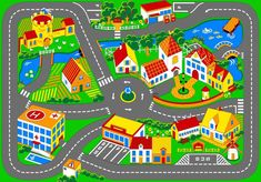 Associated Weavers Spielteppich Stadt 95 x 133 cm Rugs And Mats, Yoga For Kids, Kids Corner, Floor Rugs, Kids Playing, Kids Room, Carpet, Toys, Quilts