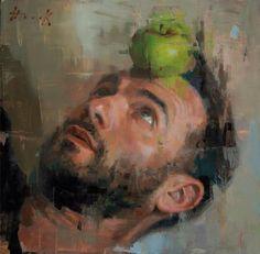 "Self portrait with apple green"" Autoportrait de l'artiste Christian Hook Art And Illustration, Figure Painting, Painting & Drawing, Encaustic Painting, Painting Abstract, Painting Tips, Christian Hook, Figurative Kunst, Sky Art"