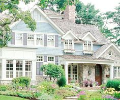 Cedar Shake Siding. Love the blues with the stone and white. I would love this house.