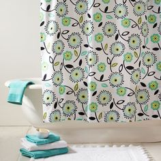 Fun shower curtain for upstairs bath.  Maybe find a sheet with similar pattern and make my own. :)