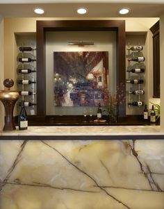Back  Lit Onyx Wine Bar Alderman Interior Design,Inc. Wet Bars, Transitional