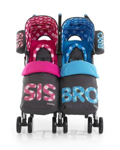 Buy your Cosatto Supa Dupa Twin Stroller - Sis n Bro 3 from Kiddicare Twin and Double Pushchairs| Online baby shop | Nursery Equipment