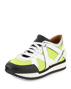 Jimmy Choo London Lace-Up Sneaker, Acid Yellow/White, Women's, Size: 36.5B/6.5B