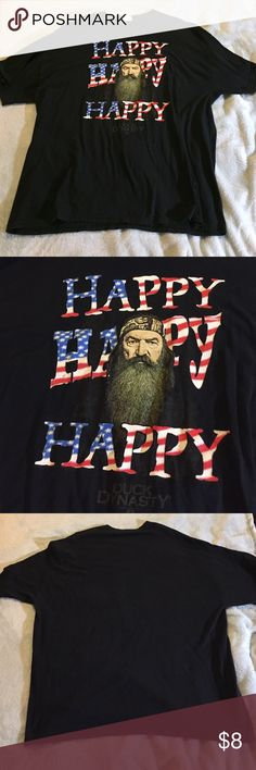 """Men's Duck Dynasty Shirt This black shirt has Phil Robertson and his famous quote, """"Happy, Happy, Happy"""" colored like the American flag. No holes, stains, or loose seams. This shirt is in great condition. I don't trade, but feel free to make an offer! Shirts Tees - Short Sleeve"""