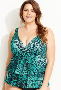 Teal Triple Tier Animal Swim Top | Plus Size Swimwear | OneStopPlus