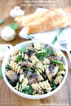 Creamy Goat Cheese Pasta with Spinach and Roasted Mushrooms on twopeasandtheirpod.com Love this creamy and healthy pasta!