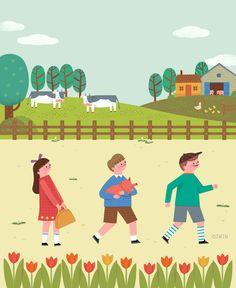 산그림 작가의 개인 갤러리 입니다. Kid Character, Character Design, Festival Posters, Children's Book Illustration, Kids Education, Childrens Books, Illustrators, Pop Art, Cartoon