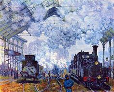 Claude Monet (Nov. 14, 1840 - 1926): The Saint-Lazare Train Station, 1877 - oil on canvas (Musee d'Orsay, Paris)