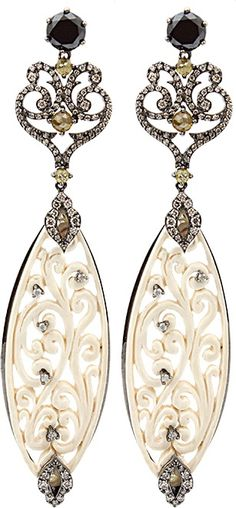 BOCHIC Carved Mammoth Drop Earrings with Diamonds $16,855.00 thestylecure.com