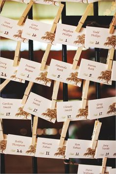 Clothes pinned tree escort cards for rustic wedding reception. Captured By: Vine and Light Photography ---> http://www.weddingchicks.com/2014/05/14/soft-southern-vintage-wedding/