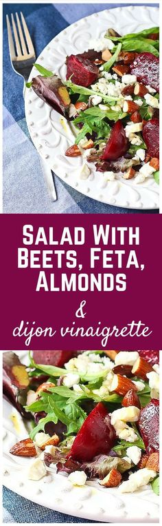 Salad with Beets Feta and Roasted Almonds - aka your lunch.