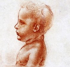 57. A Bust of a Child in Profile, 1500, Red chalk