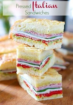 Italian Sandwiches Pressed Italian Sandwiches - The perfect party food!Pressed Italian Sandwiches - The perfect party food! Tea Party Sandwiches, Finger Sandwiches, Tea Sandwich Recipes, Mini Sandwich Appetizers, Tapas, Pressed Sandwich, Simply Yummy, Beste Burger, Italian Sandwiches
