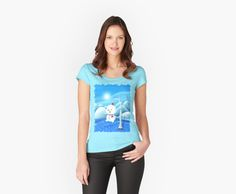 'Snowbaby on Sparkling Ice' Fitted Scoop T-Shirt by We ~ Ivy Presents For Friends, Sparkling Ice, Graphic Shirts, Ivy, Cap Sleeves, Snowman, Classic T Shirts, Shirt Designs, Frozen