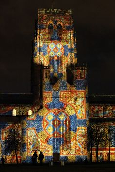 """Durham Cathedral, in Durham, one of the installations in the Lumiere Festival // """"The Crown of Light"""" - projections featuring the Lindisfarne Gospels are illuminated upon Durham Cathedral"""
